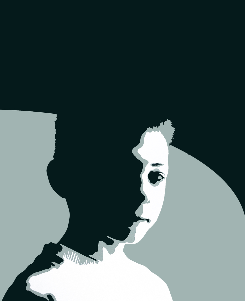 Dan, cut paper collage, Mike Tedder