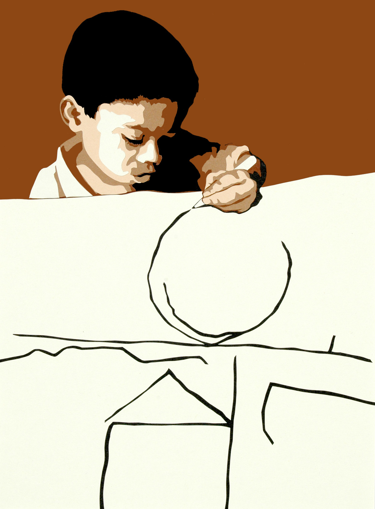 I Draw, cut paper collage, Mike Tedder