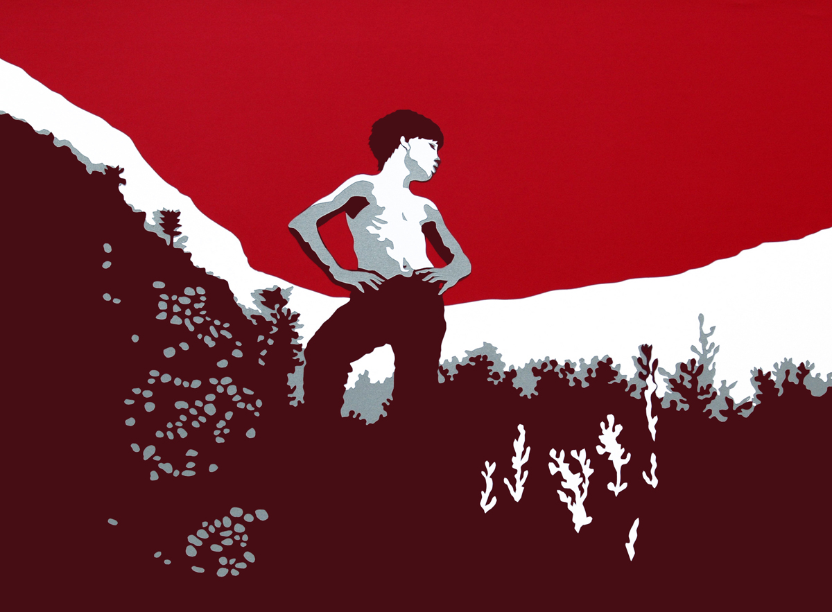 The Climber, cut paper collage, Mike Tedder