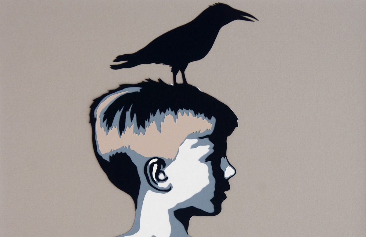 A Boy and his Crow, cut paper collage, Mike Tedder