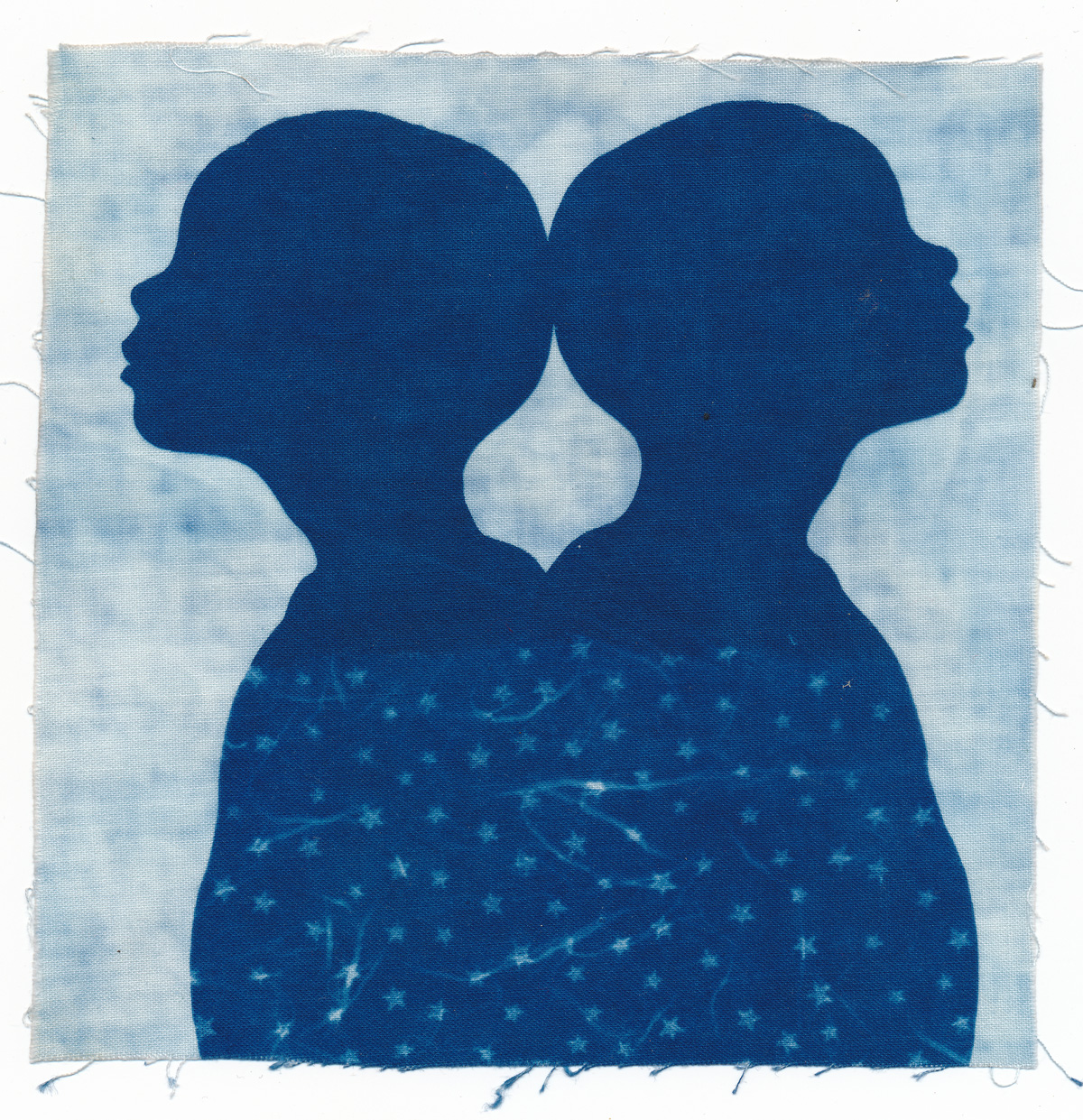 Gemini, cyanotype on cotton fabric, Mike Tedder