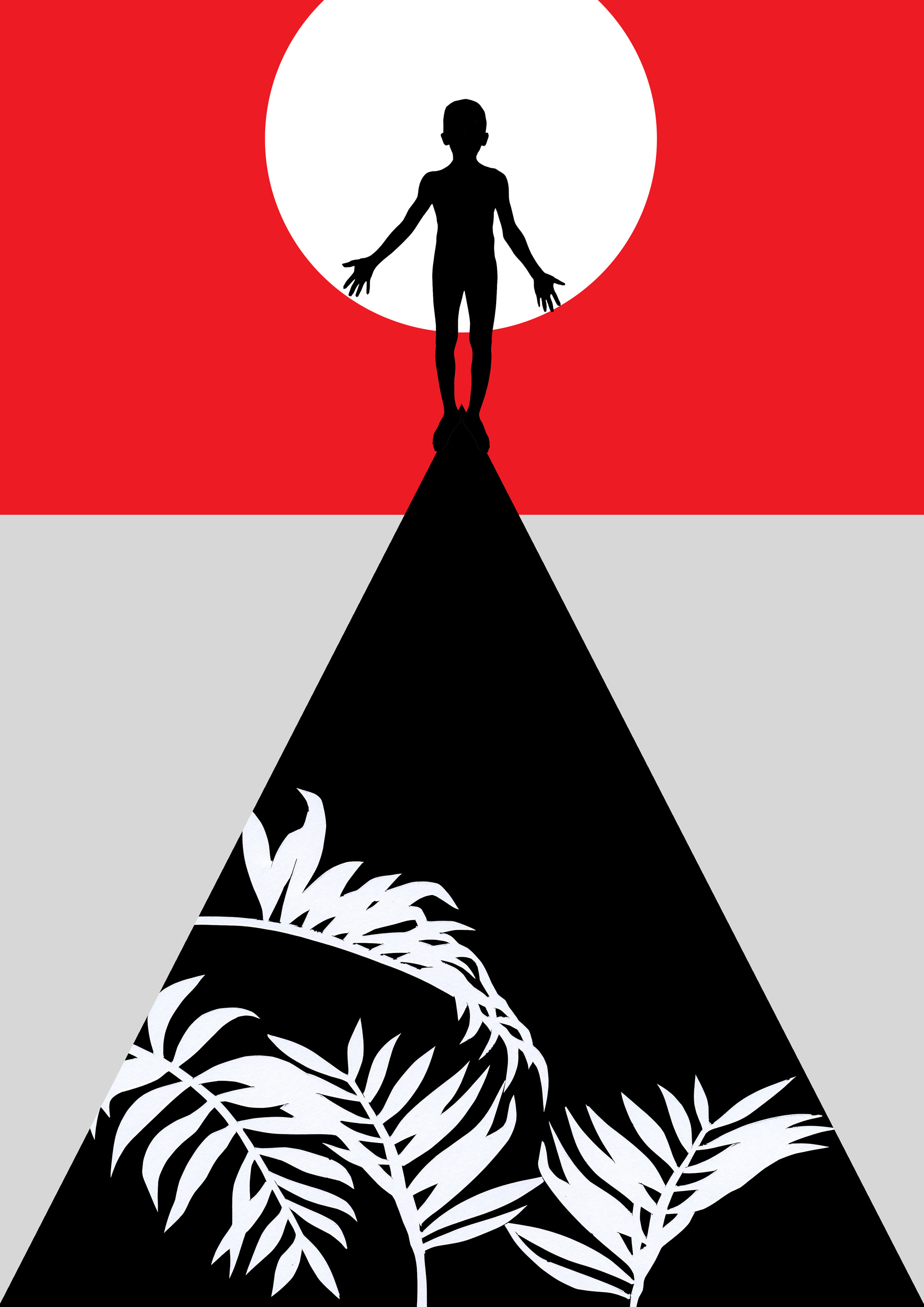 At the top of the world, cut paper collage, Mike Tedder