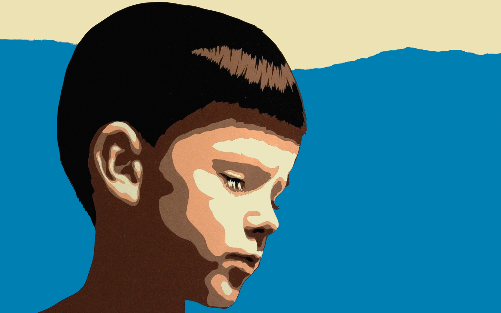 Contemplation, cut paper collage, Mike Tedder