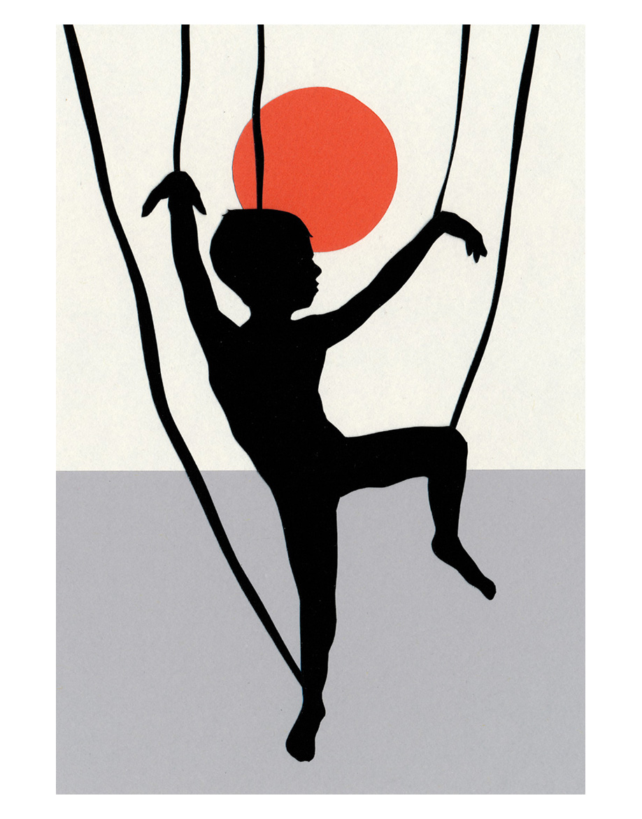 The Marionette, cut paper collage, New Dawn, cut paper collage, Mike Tedder
