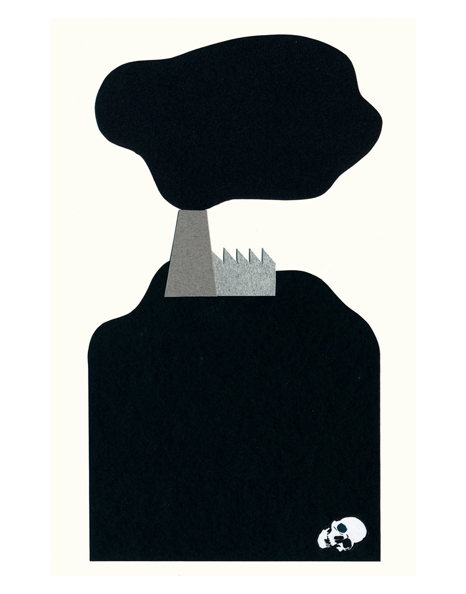 Factory on the Hill, cut paper collage, Mike Tedder