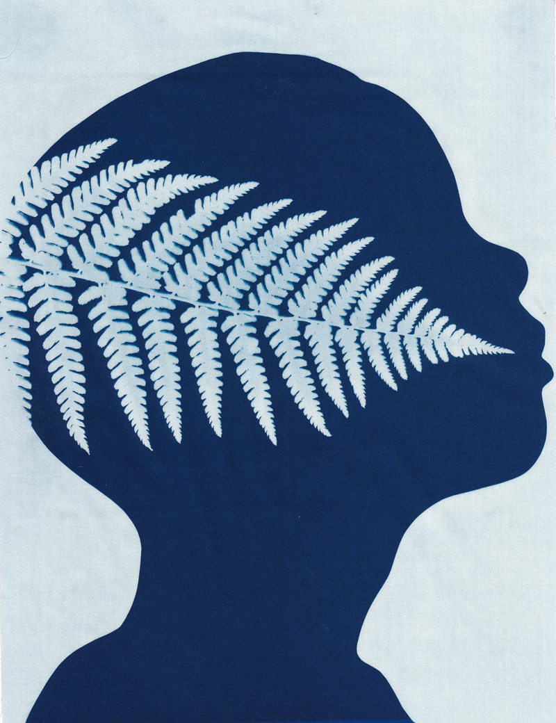 Nature Boy, cyanotype on cotton fabric, Mike Tedder