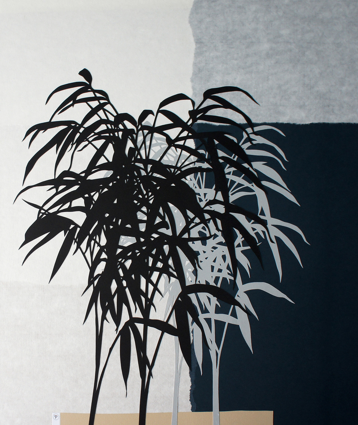 Bamboo Garden, cut paper collage, Mike Tedder