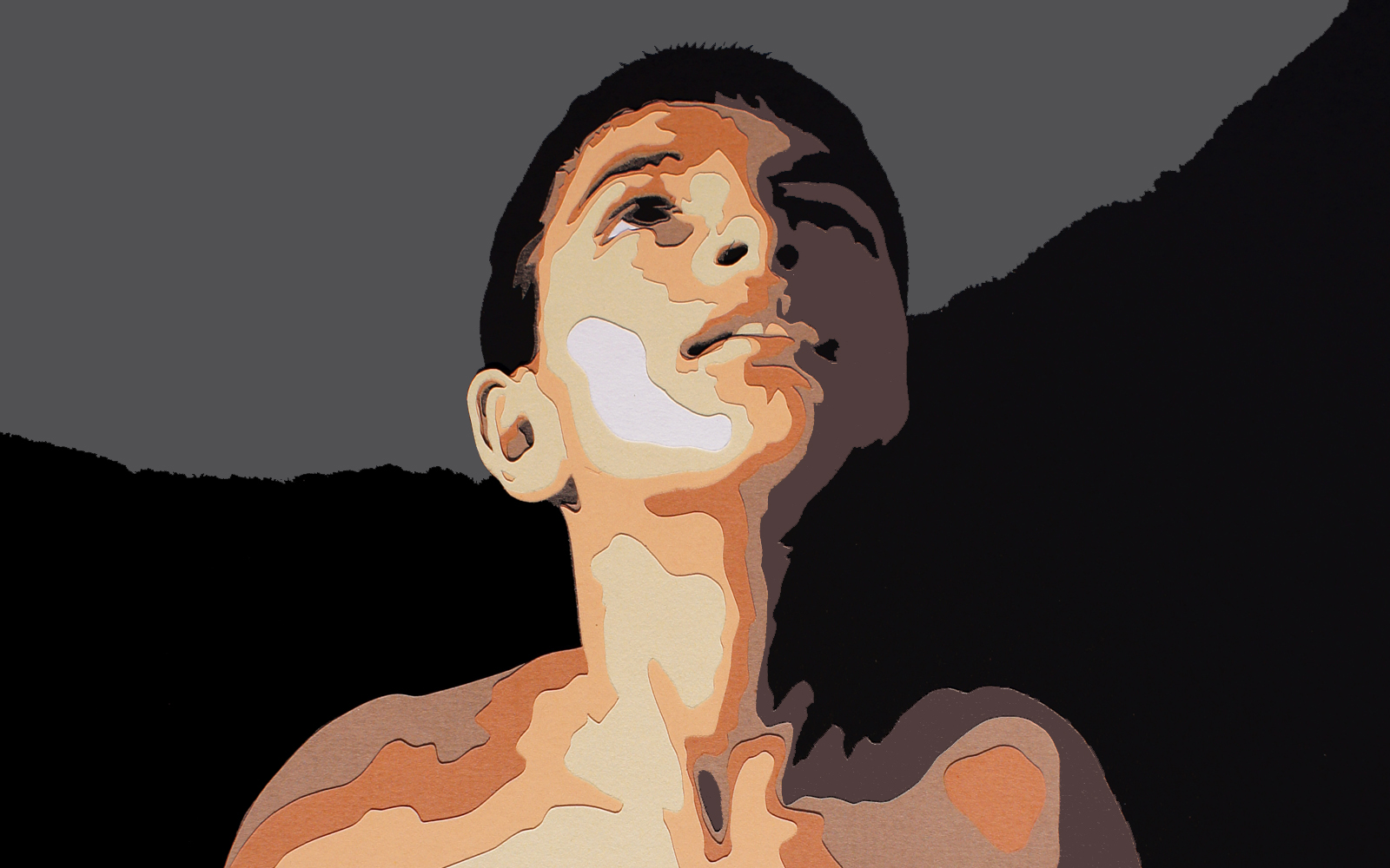In the Light, cut paper collage, Mike Tedder