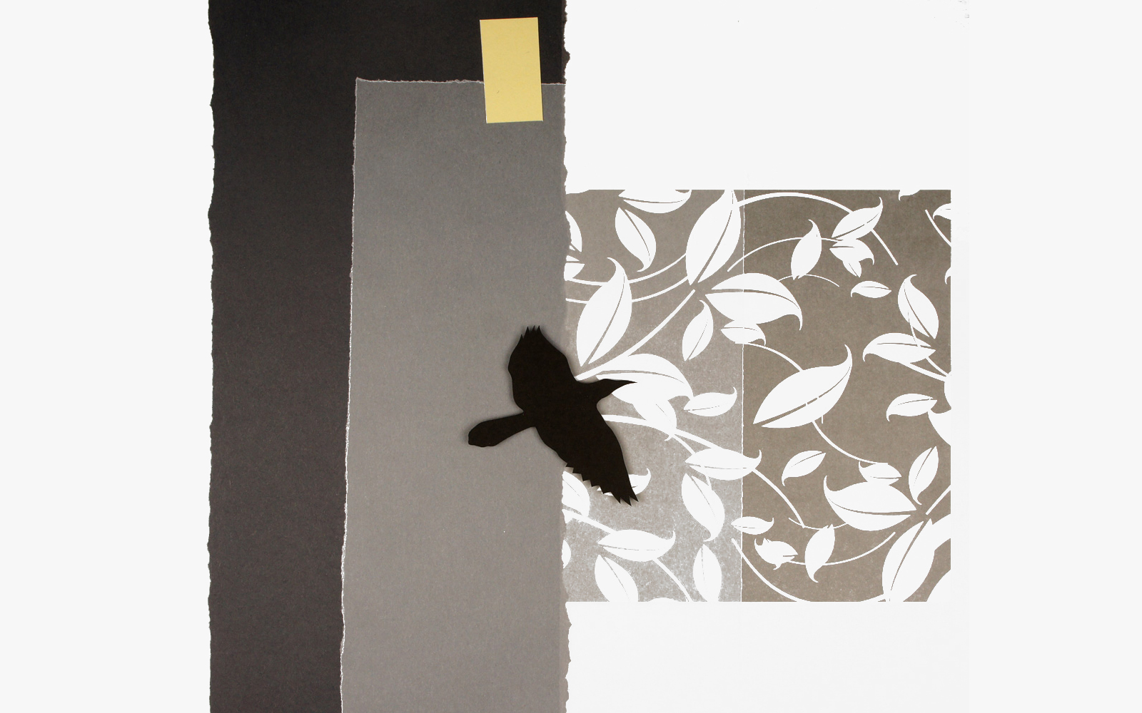 Night Flying, cut paper collage, Mike Tedder