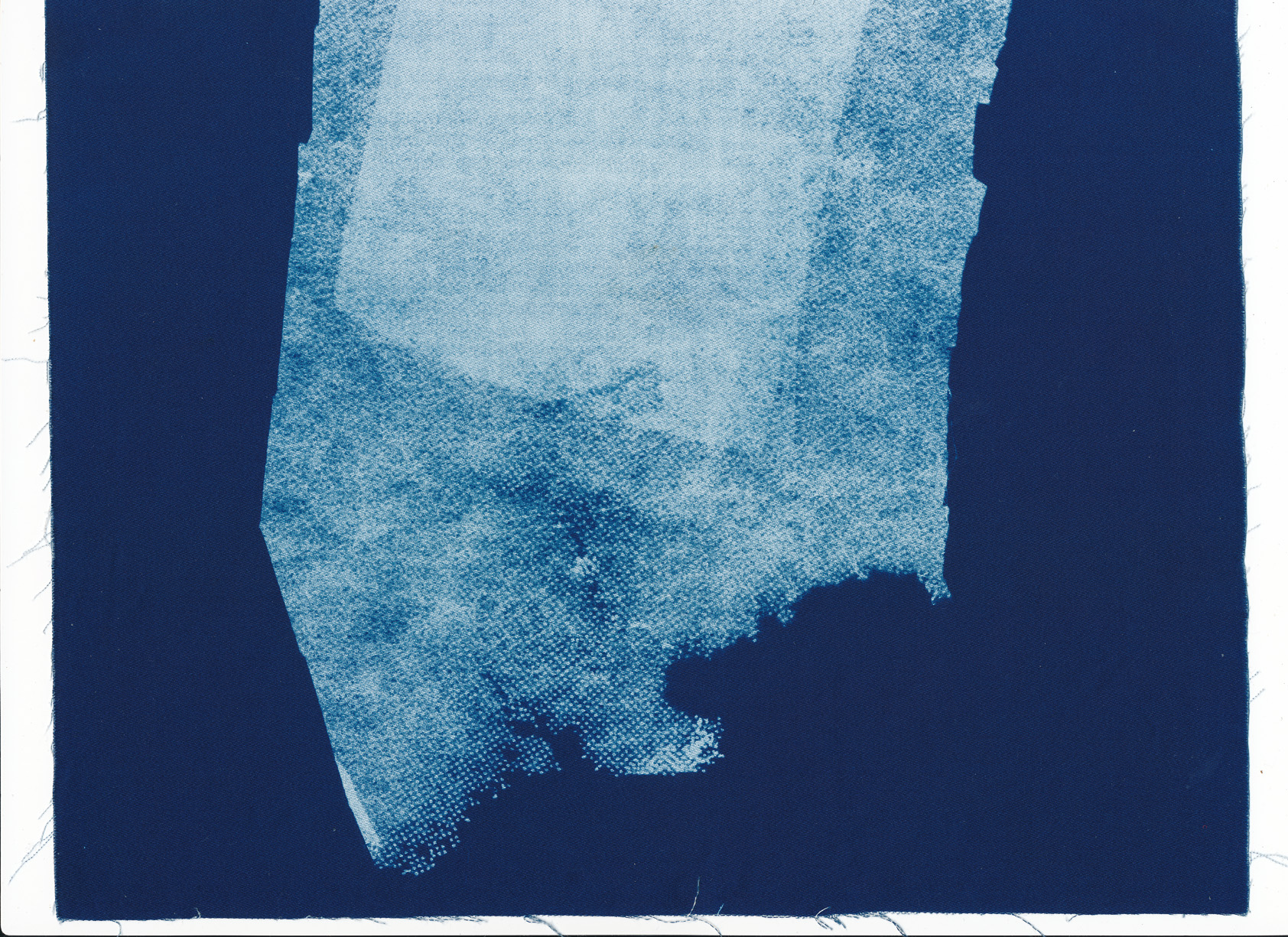 Dissolve, cyanotype on cotton fabric, Mike Tedder