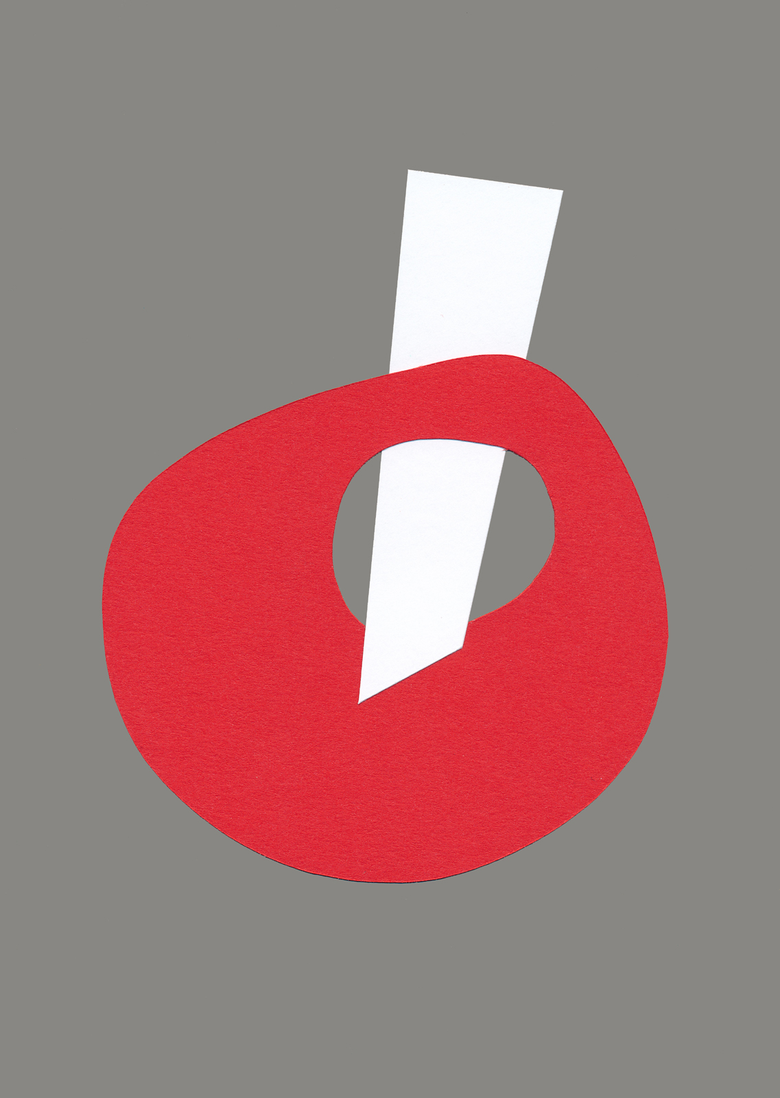 Interjection, A5 paper collage, Mike Tedder