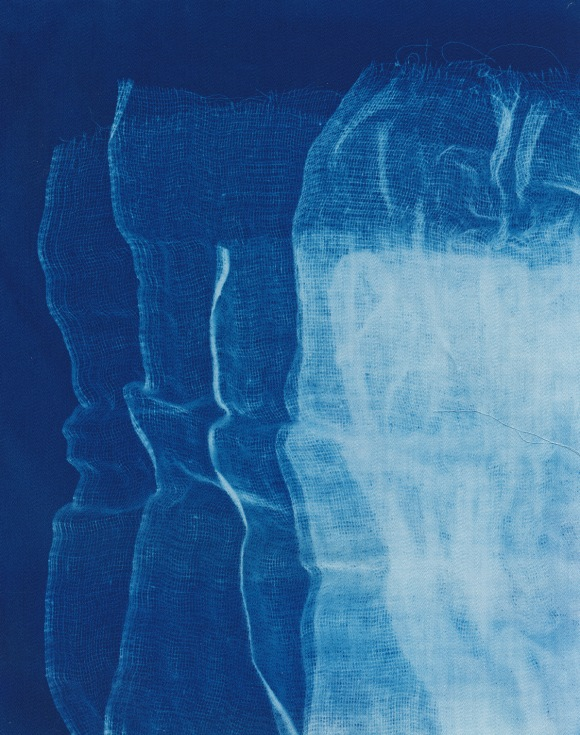 Les Vagues, cyanotype on cotton fabric, Mike Tedder