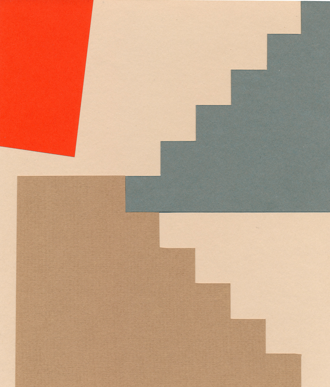 Red Landing Curtain, paper-cut collage